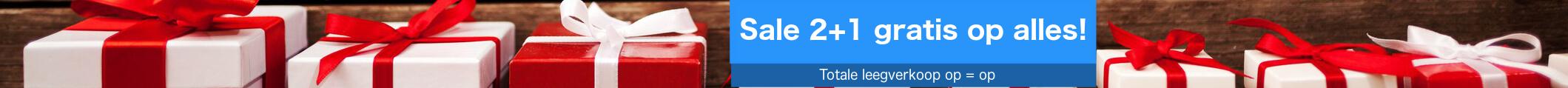 Sale! uitverkoop 2 + 1 gratis